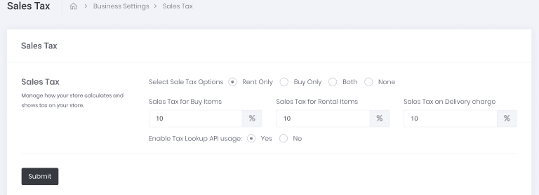 Automated sales tax for rentals